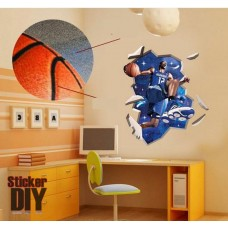 สติ๊กเกอร์ติดผนัง 3D นักบาสเกตบอล (กว้าง90cm.xสูง100cm)