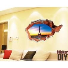 สติ๊กเกอร์ติดผนัง 3D ทลายกำแพงเห็น Eiffel (กว้าง113cm.xสูง67cm)