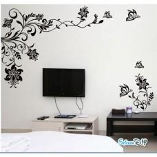 Bigsize Vinyl wall sticker สติ๊กเกอร์ติดผนัง Black butterfly flower ซ้าย (กว้าง236cm.xสูง147cm.)