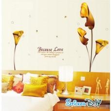 Transparent wall sticker สติ๊กเกอร์ติดผนัง Becuase you สีเหลืองทอง (กว้าง185cm.xสูง145cm.)