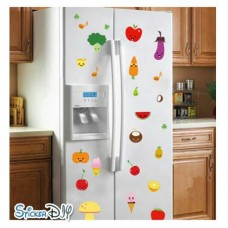 Transparent wall sticker สติ๊กเกอร์ติดผนัง MIX Fruits and vegetables (กว้างFree.xสูงFree.)